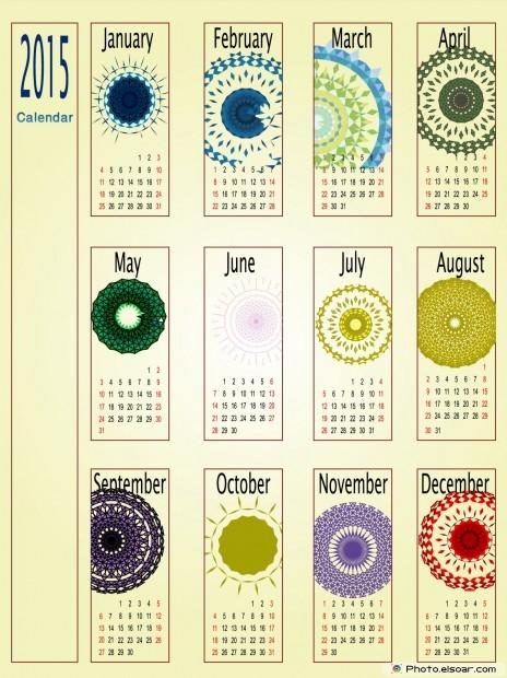 2015 Calendar Floral Ornate