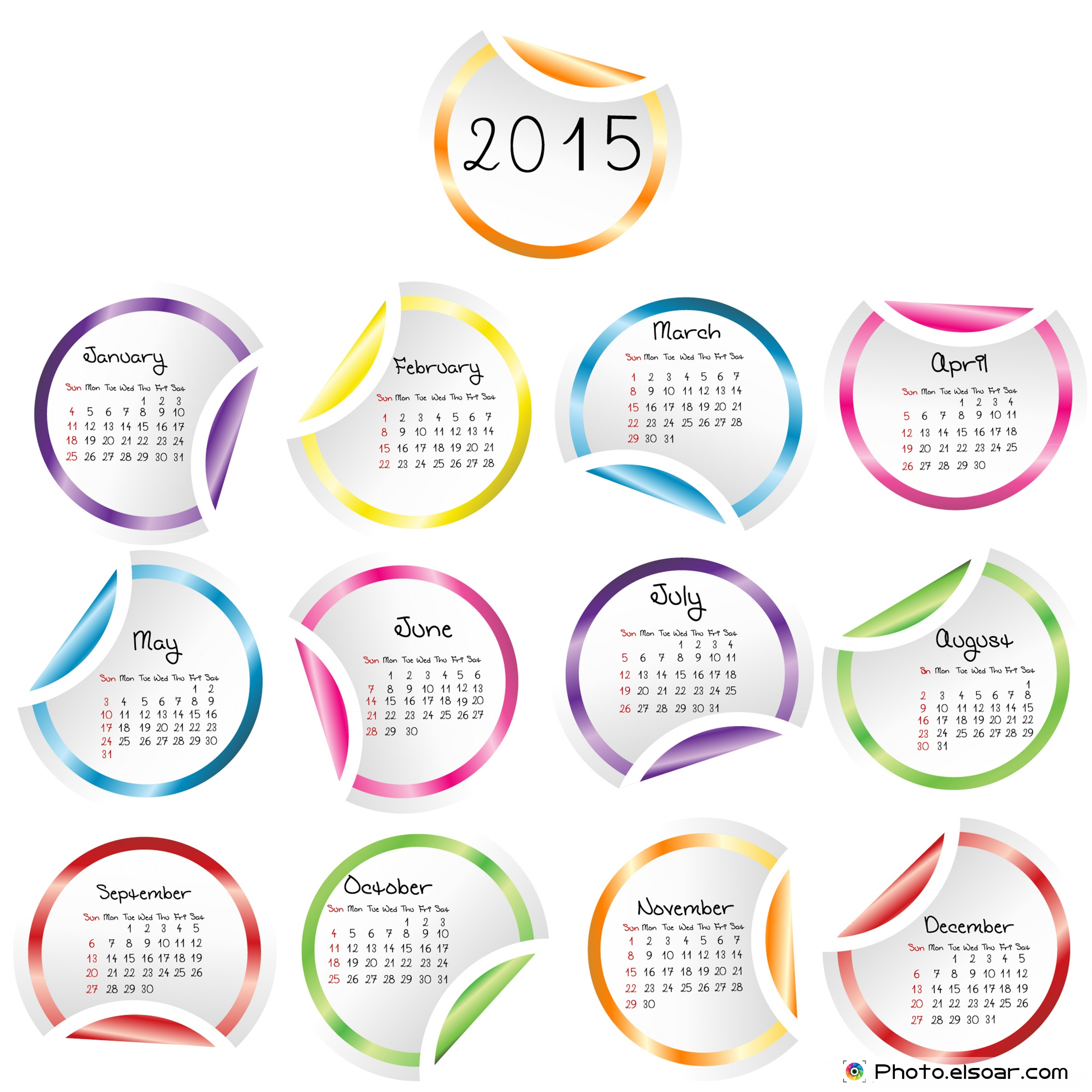 2015 Calendar with round glossy stickers.