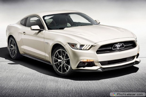 2015 Ford Mustang Gt 50th Anniversary Edition Front Side View on grey background