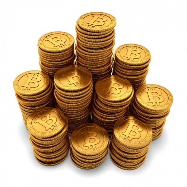 3D rendering paneled golden Bitcoins