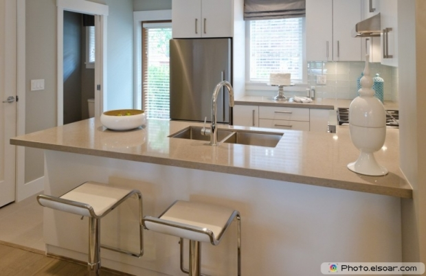 A Luxury Modern Kitchen With Two Sits