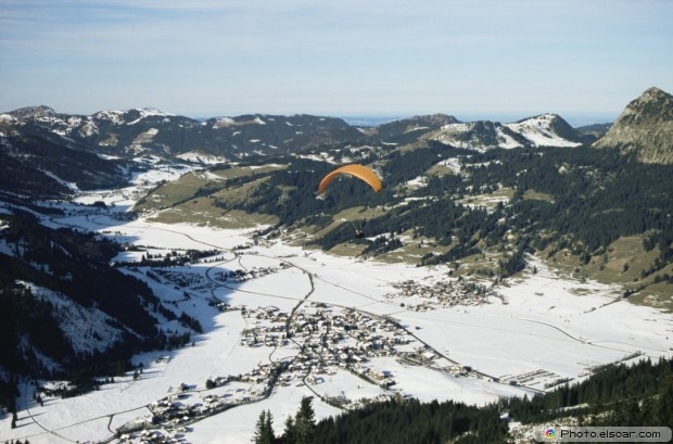 A Paraglider Above The Tannheimer Valley