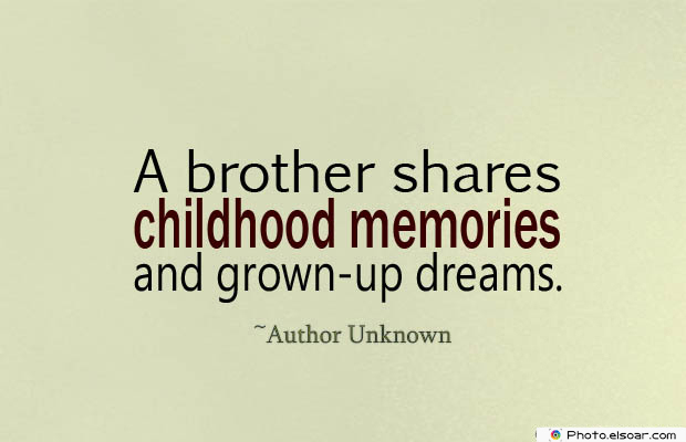 Quotes About Brothers , A brother shares childhood