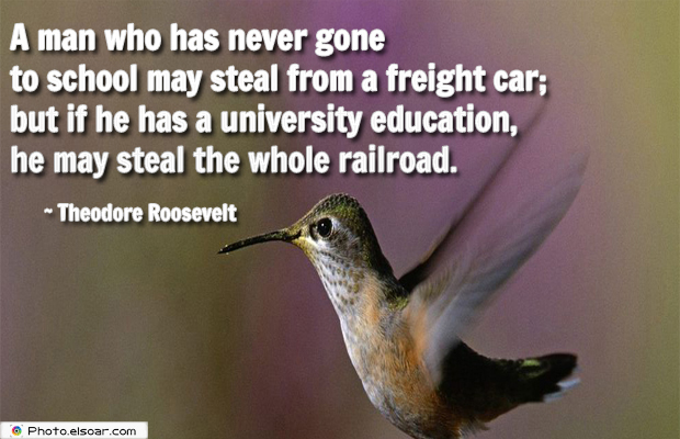 College Quotes , A man who has never gone to school may steal from a freight car