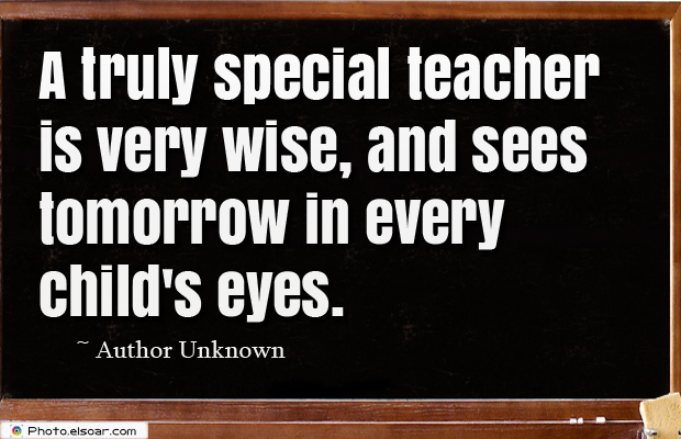 Short Strong Quotes , A truly special teacher is very wise