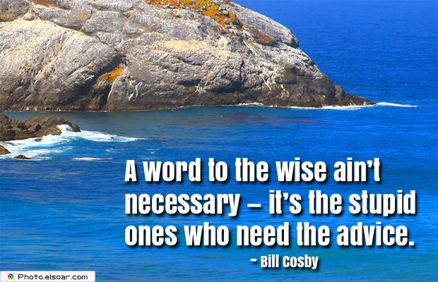 Short Strong Quotes , A word to the wise ain't necessary — it's the stupid