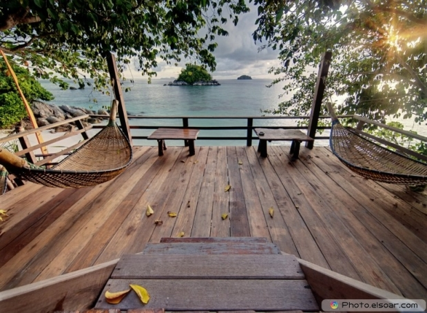Amazing private terrace with hammocks in tropical