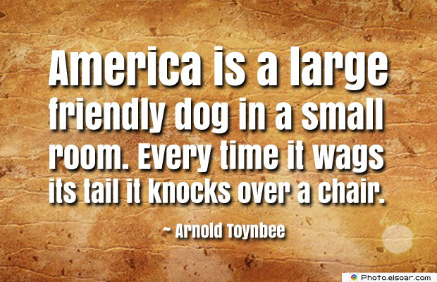 Quotes About America , America Quotes , America is a large friendly dog in a small room
