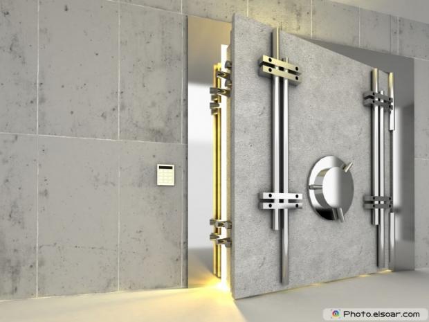 Armored safe doors to bank deposits