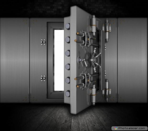 Bank vault in a grunge interior