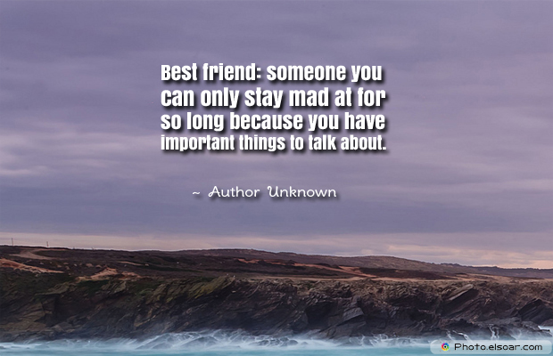 Best Friends Forever , Best friendsomeone you can only stay mad at for so long