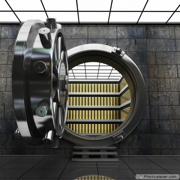 Big safe door with Gold ingots. High resolution 3D image