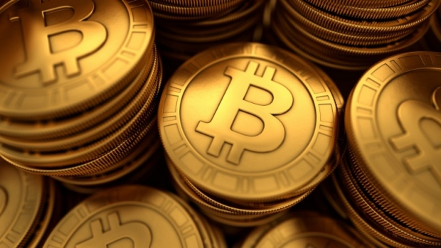Bitcoins group with depth of field blur