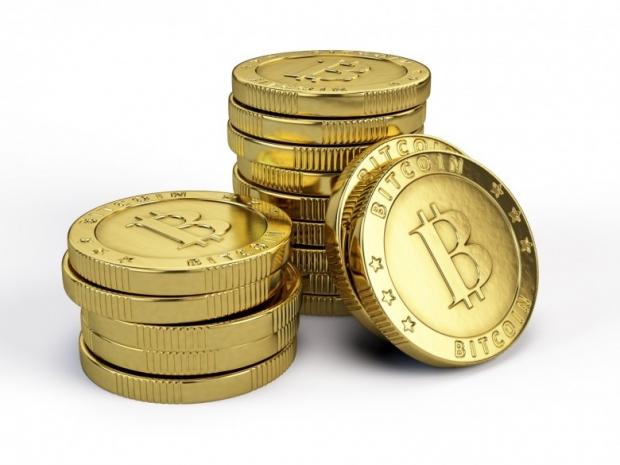 Bitcoins on white background