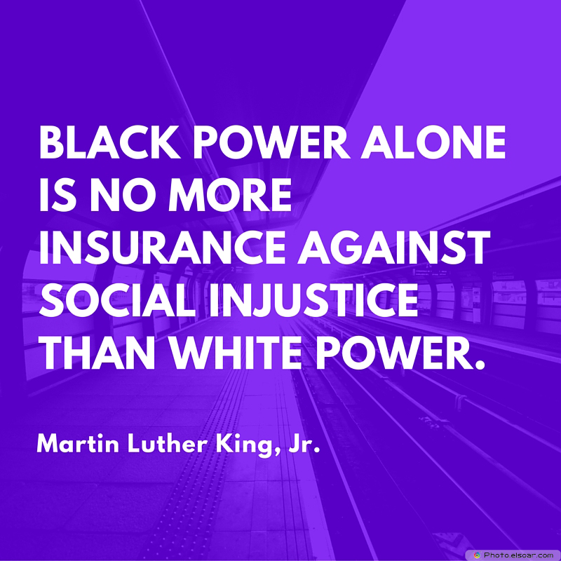 Martin Luther King Jr. Day , Black Power alone is no more insurance against social injustice