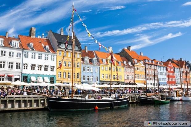 Blue Sky In Nyhavn, Copenhagen, Denmark