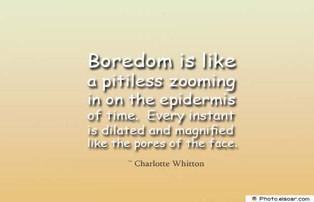 Short Quotes , Boredom is like a pitiless zooming