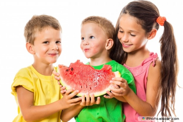 Boys With Girl Eating A Watermelon