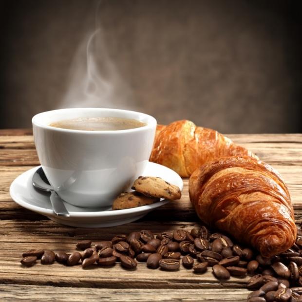 Breakfast coffee with bread