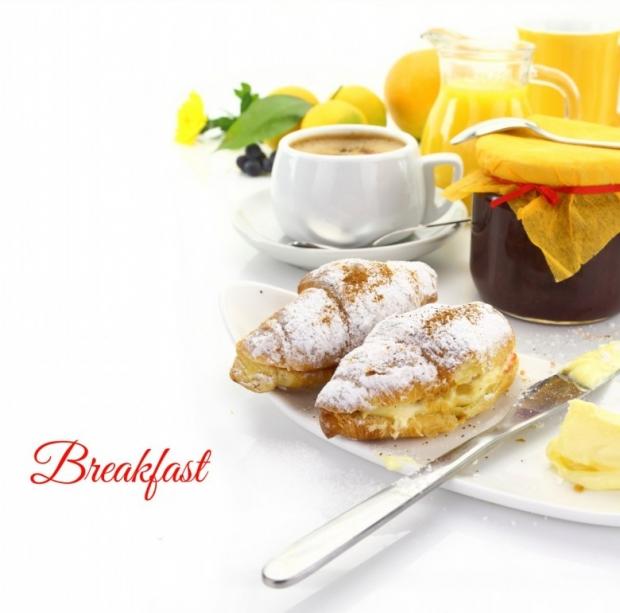 Breakfast, croissants, beverages