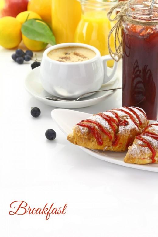 Breakfast, croissants, cappuccino cup