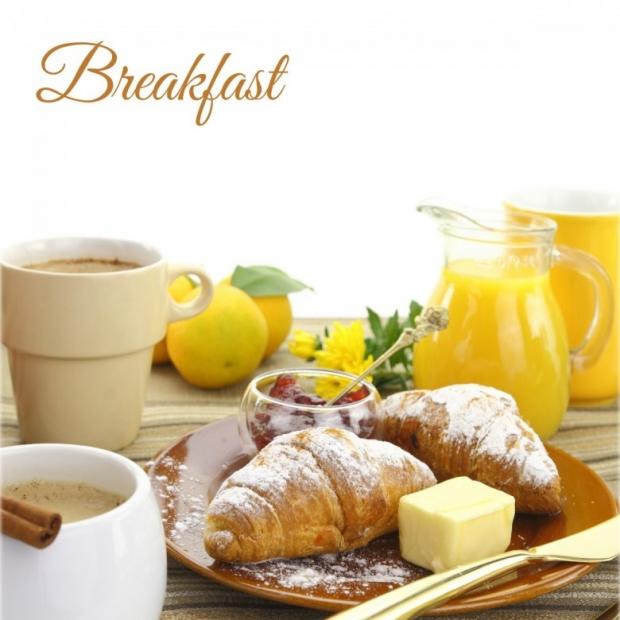 Breakfast, croissants, coffee, beverages