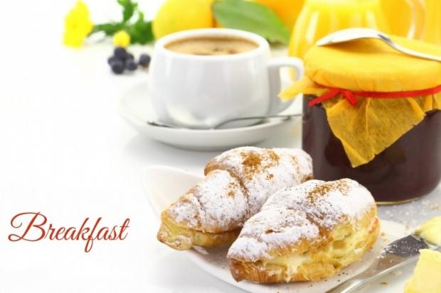 Breakfast, croissants, orange juice
