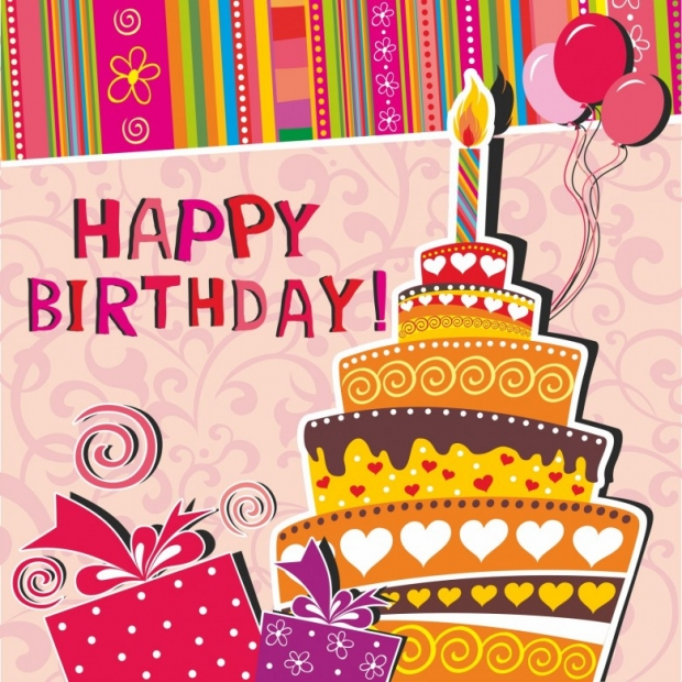 Card with birthday cake