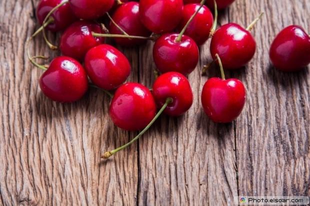 Cherries Closeup On Table