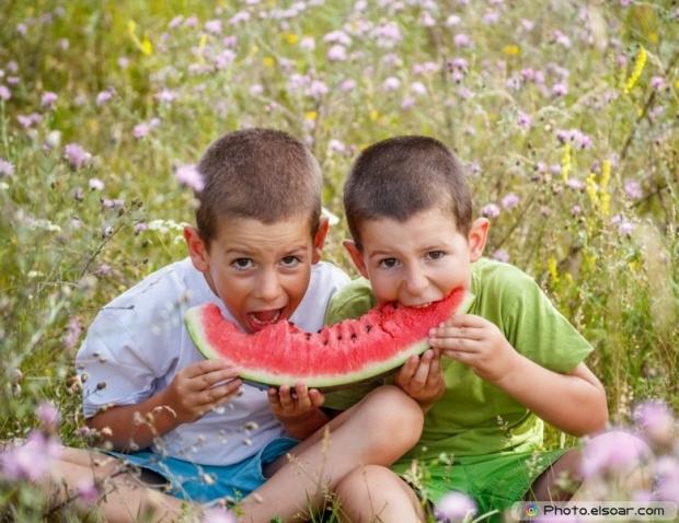 Children Eating Red Watermelon