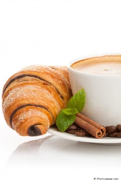 Chocolate Croissant With Coffee, Cinnamon Sticks