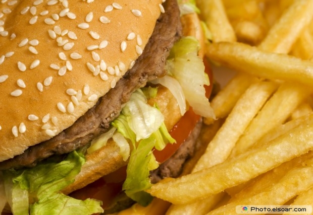 Close-Up Burger With French Fries
