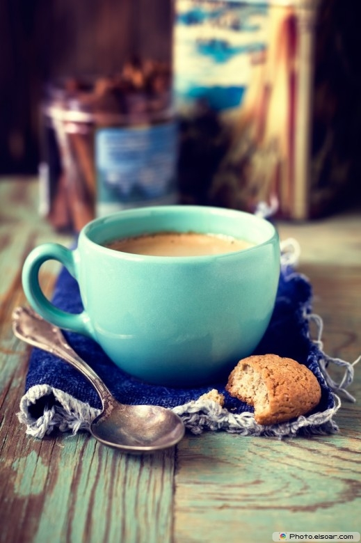 Coffee Cup With Cookie, Spoon