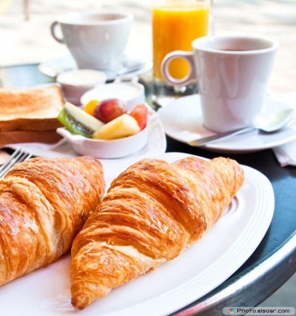 Coffee With Croissants At Breakfast