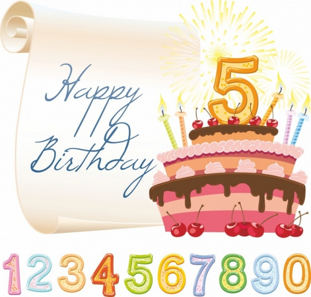Colorful happy birthday cake over sheet of paper