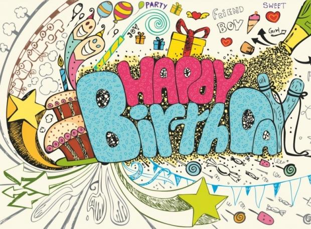 Colorful happy birthday doodle