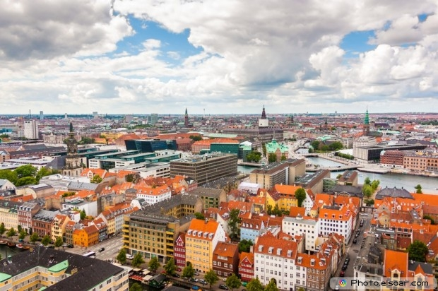 Copenhagen City With Clouds, Denmark