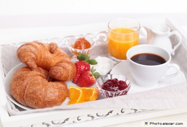 Croissant With Coffee And Juice