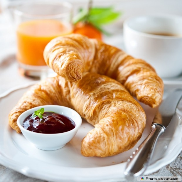 Croissants With Coffee And Juice