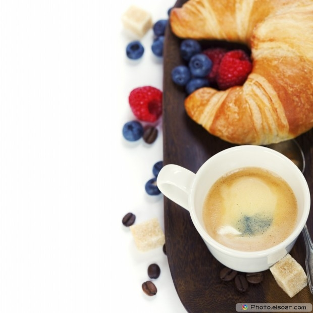 Croissants With Fruits And Coffee