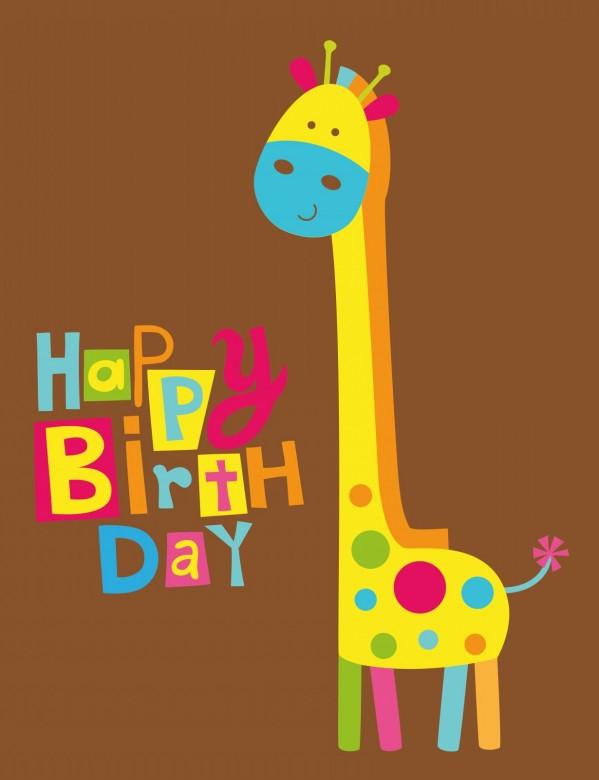Cute happy birthday card with fun giraffe