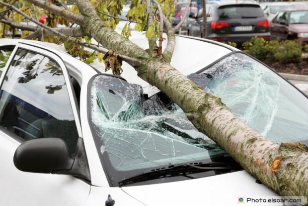 Damaged car after storm