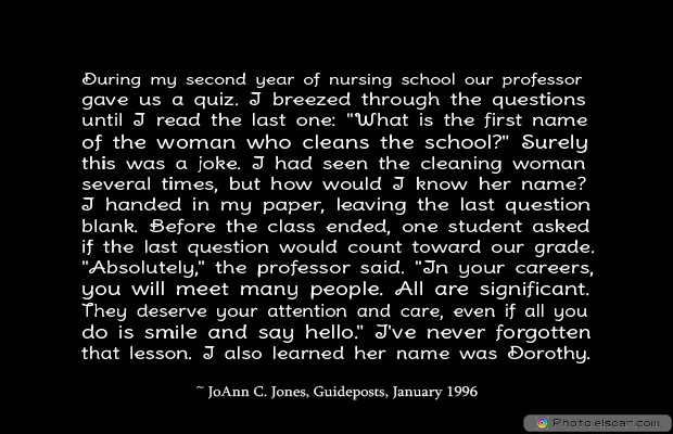 Short Strong Quotes , During my second year of nursing school our professor
