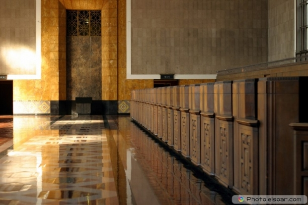 Empty bank interior
