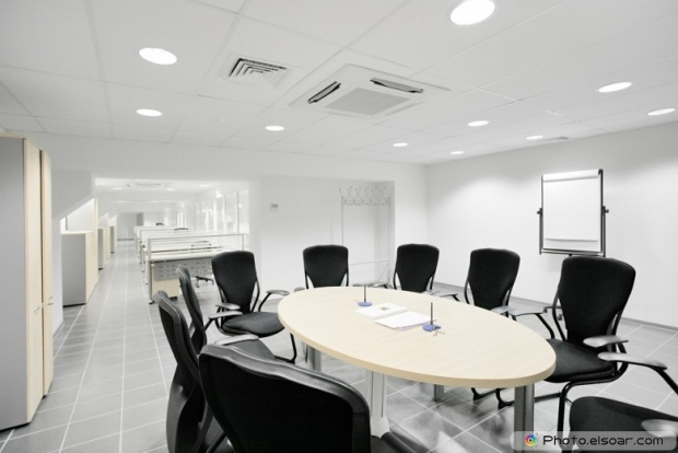 Empty meeting room in the bank office