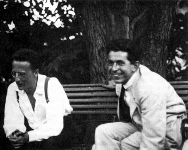 Erwin Schrödinger and Fritz London in Berlin, Germany. 1928
