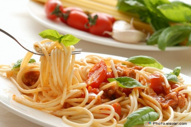 Fork With Pasta With Basil On Dish