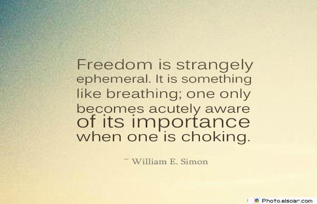 Breathing Quotes , Freedom is strangely ephemeral