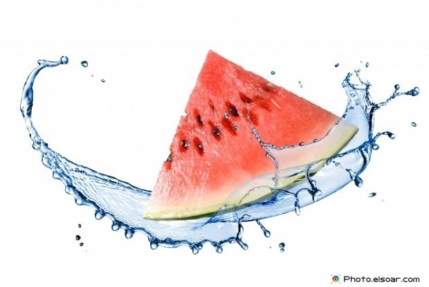 Fresh Watermelon And Water Splash