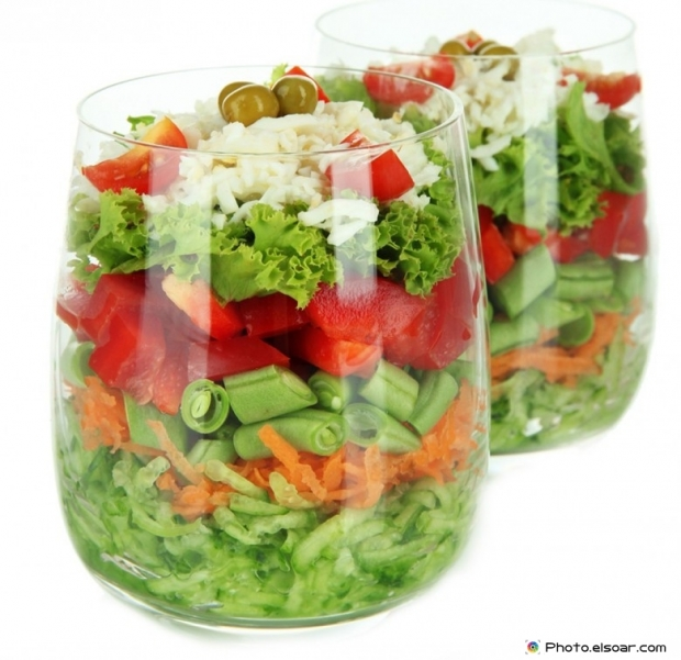 Fresh salad in two pots